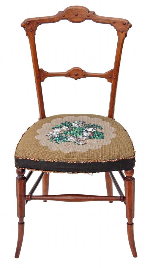 Antique Arts and Crafts Victorian walnut chair bedroom side hall beadwork 3304