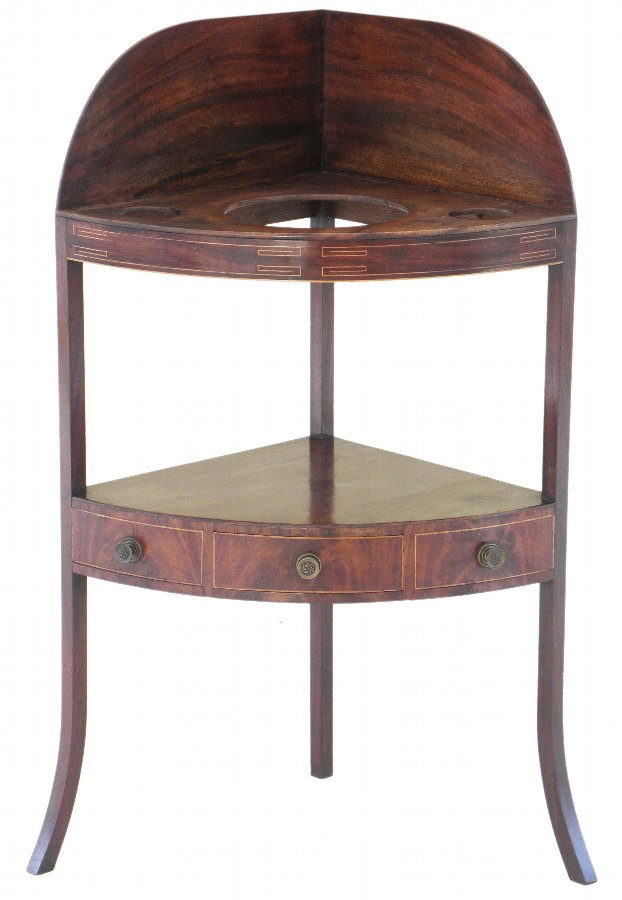Georgian inlaid mahogany corner washstand table 2101