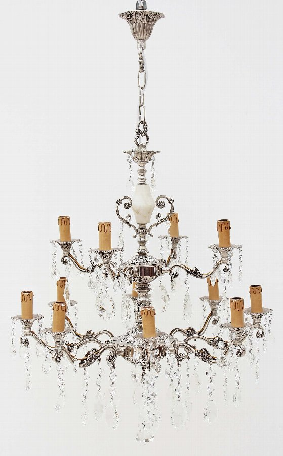 Antique 12 lamp silver on brass crystal chandelier 3889