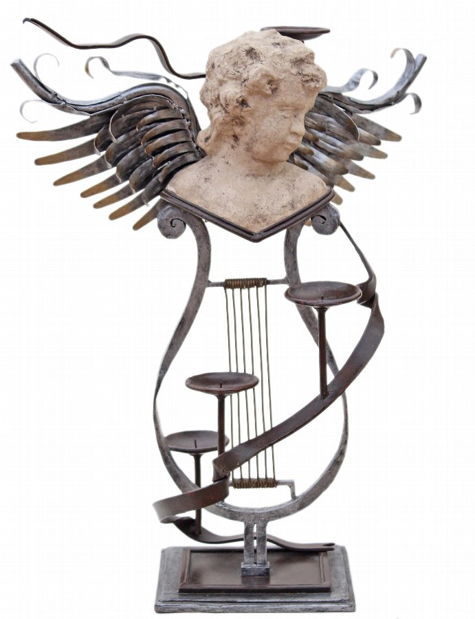 Large mixed metal contemporary statue work of art angel candelabra 3900