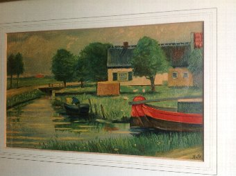 Antique OIL ON BOARD STUDY OF A FARM HOUSE BY A CANAL