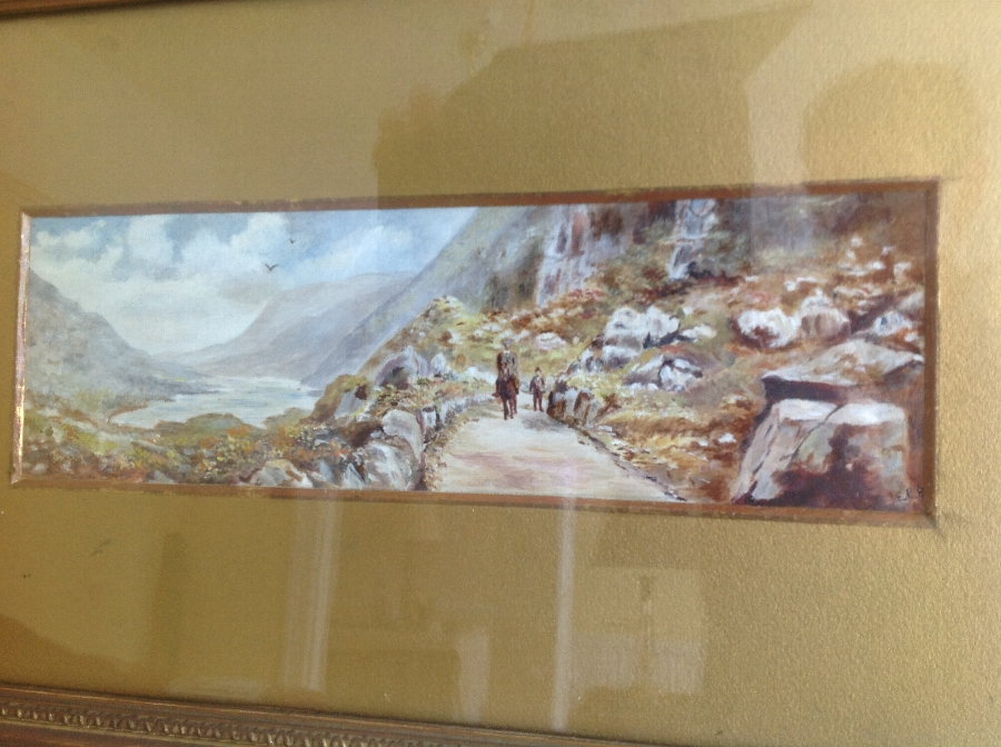 19th C VICTORIAN WATERCOLOUR OF A MOUNTAIN PATH - SCOTLAND