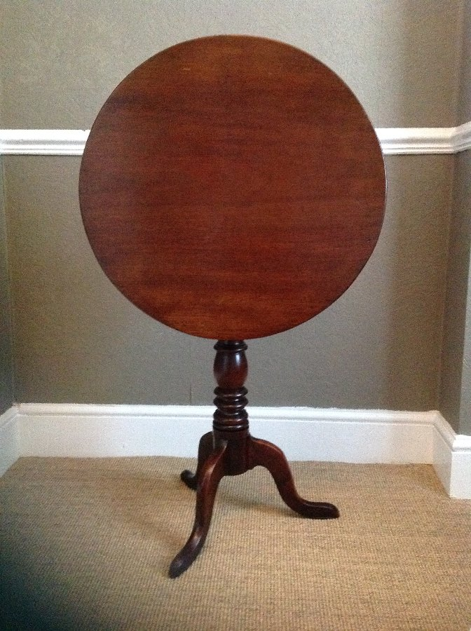 GEORGE III MAHOGANY WINE/OCCASIONAL TABLE ROUND TILT TOP TRIPOD TABLE