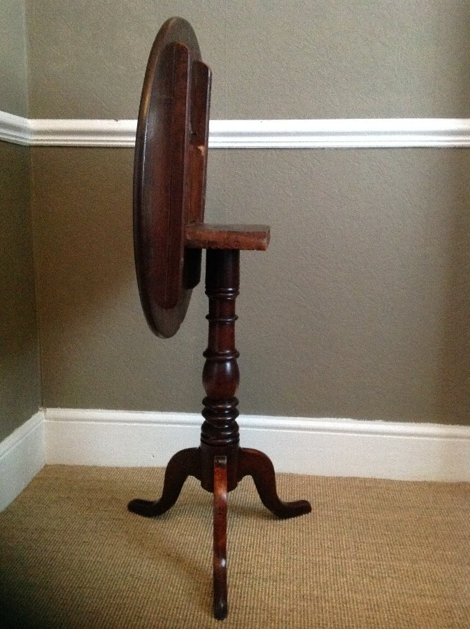 Antique GEORGE III MAHOGANY WINE/OCCASIONAL TABLE ROUND TILT TOP TRIPOD TABLE
