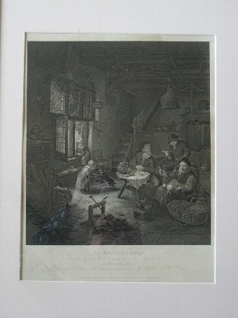 Antique FINE 18thc COPPER ENGRAVING (Isaac Van Ostade work) BY William Bond (1772-1827)