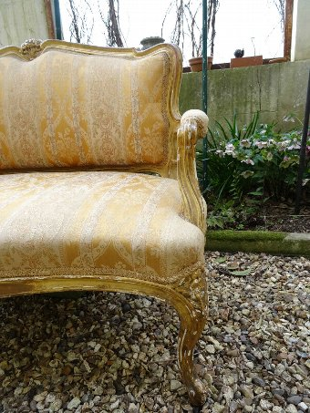 Antique SUPERB 19thc SHABBY CHIC FRENCH LOUIS XVI GILTWOOD UPHOLSTERED SOFA SETTEE