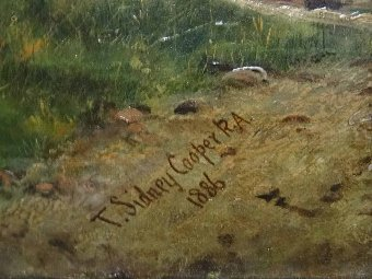 Antique Thomas Sidney Cooper (1803-1902) ORIGINAL CATTLE & SHEEP LANDSCAPE OIL PAINTING