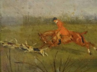 Antique 19thc ORIGINAL SPORTING EQUESTRIAN FOX HUNTING OIL ON PANEL PAINTING (1 OF 2)
