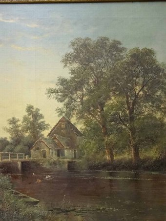 Antique 'Octavius Thomas Clark' (1850-1921) A VERY LARGE ANTIQUE LANDSCAPE OIL PAINTING