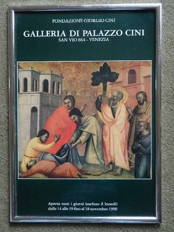 Antique 1990 ITALIAN FINE ART ADVERTISING POSTER GALLERIA DI PALAZZO CINI - GIORGIO CINI
