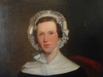 Antique LARGE BEAUTIFUL EARLY 19thc OIL PORTRAIT PAINTING OF A PRETTY SOCIETY LADY