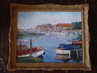 Antique 'Boating on the Norfolk Broads' - BEAUTIFUL ORIGINAL CONTEMPORARY OIL PAINTING
