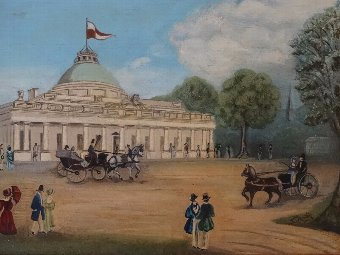 Antique FABULOUS ANTIQUE EDWARDIAN NAIVE SCH OIL PAINTING OF CHELTENHAM PUMP ROOMS 2of2