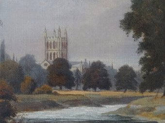 Antique BEAUTIFUL 19thc ANTIQUE VICTORIAN LANDSCAPE OIL PAINTING OF HEREFORD CATHEDRAL