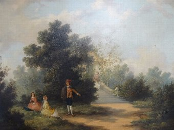 Manner of Gainsborough OUTSTANDING 19thc LANDSCAPE OIL PAINTING Circa 1840 2of2