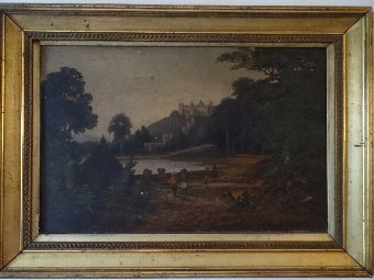 UNTOUCHED / UNRESTORED 19thc ANTIQUE VICTORIAN OIL PAINTING  'INDIAN HILL FORT'