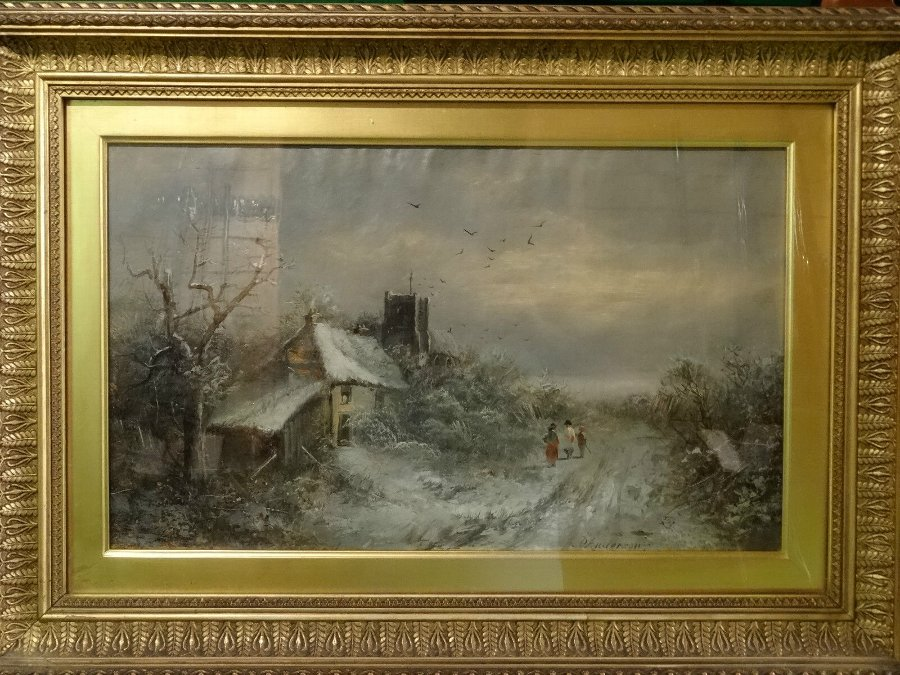 Antique SUPERB - MID 19thc WINTER SNOW CAPPED LANDSCAPE OIL PAINTING 'P ANDERSON'