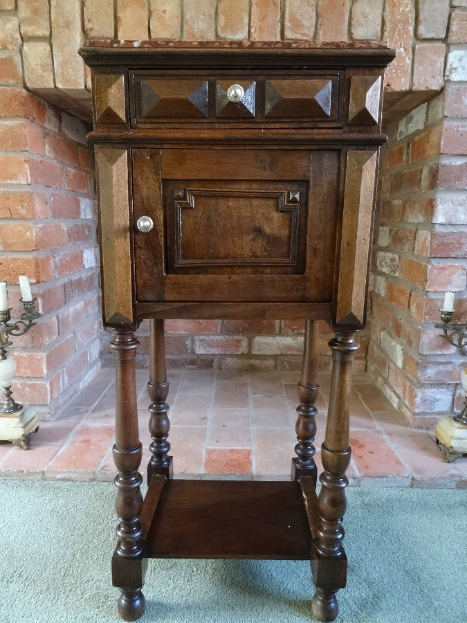 Antique BEAUTIFUL 19thc FRENCH EMPIRE WALNUT BEDSIDE CABINET POT CUPBOARD SIDE TABLE