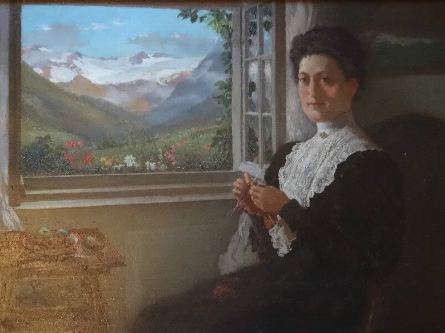 Antique Attrib: 'William Small' SUPERB PORTRAIT OIL PAINTING OF A LADY IN SWITZERLAND
