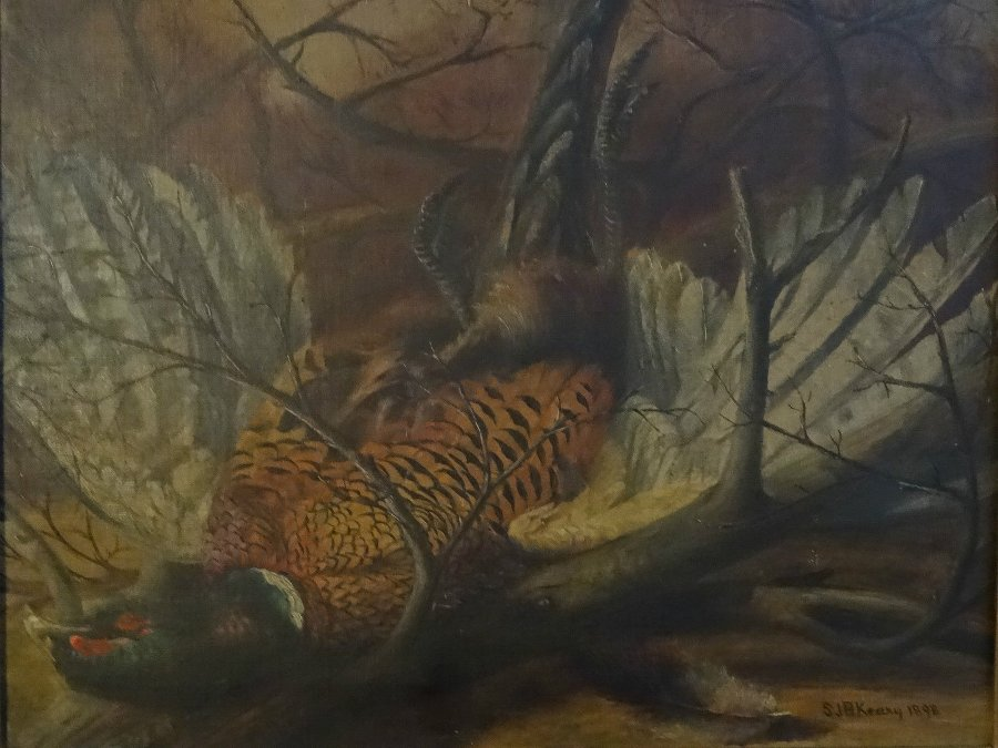 Antique ORIGINAL 19thc GAME SPORTING STILL LIFE SHOOTING PHEASANT OIL PAINTING - SIGNED
