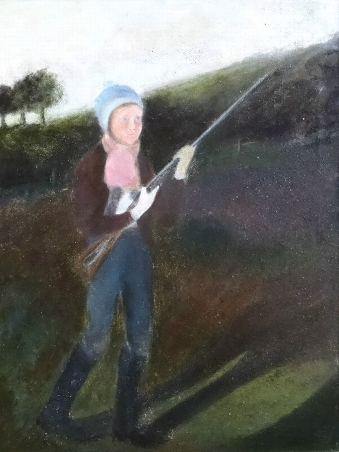 Antique 1920's NAIVE OIL PORTRAIT PAINTING OF A GIRL SHOOTING GAME BIRDS - SPORTING GUN