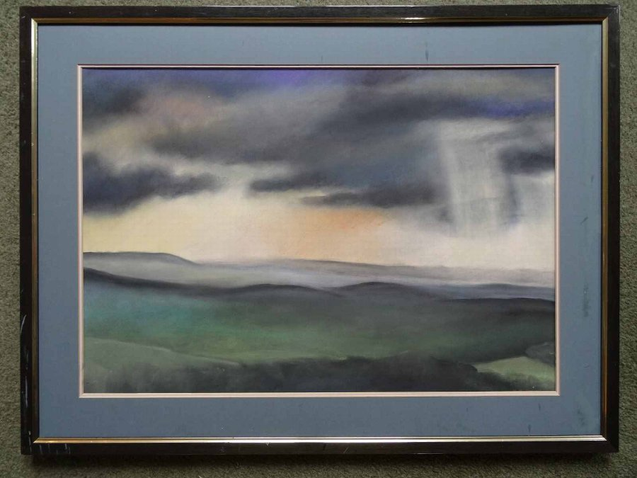 Antique 'Stormy Skies' FABULOUS ORIGINAL 20th LANDSCAPE WATERCOLOUR PAINTING