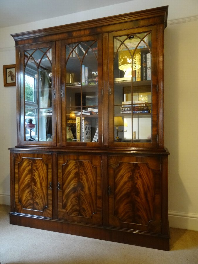 Antique SUPERB GEORGIAN REVIVAL ASTRAGAL GLAZED FLAME MAHOGANY BOOKCASE DISPLAY CABINET