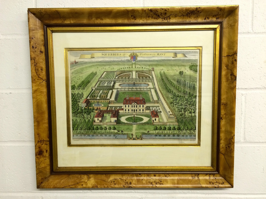 Antique Print Of Bird's Eye View Of Kent Estate, John Harris, Circa 1719 Or Later