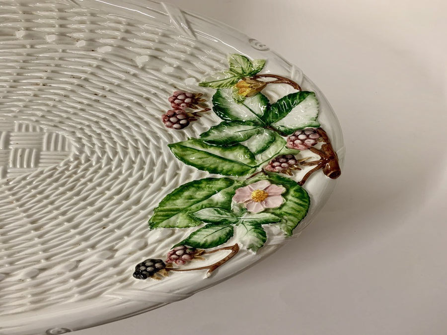 Antique Italian Pottery Basket Weave Oval Dish, Post-1950 Piece, Circa Late 20th Century