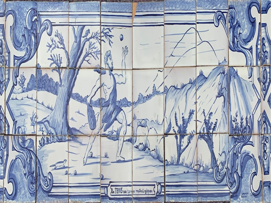 Set Of Five Portuguese Faience Tile Panels, Painted In Blue, Circa 20th Century
