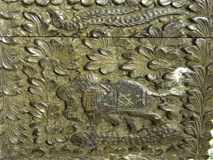 Antique Antique Indian Wood Carved Card Case, Damascened Metal, Circa 19th Century