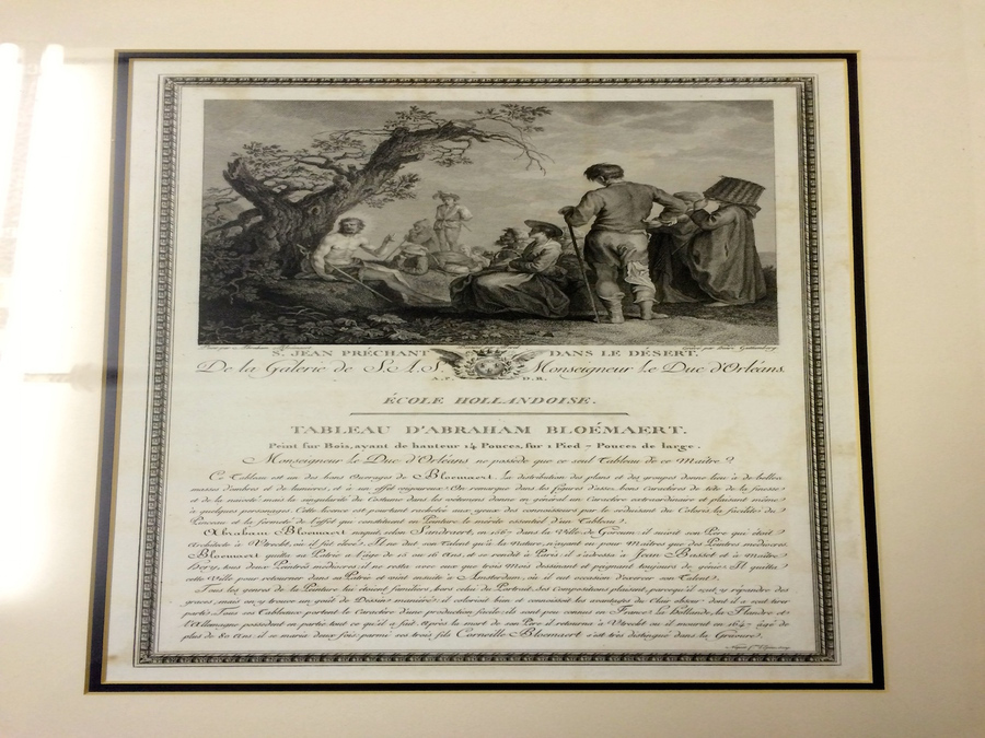 Antique Old Master Painting Engraving, Ecole Hollandoise, Tableau D' Abraham Bloemart