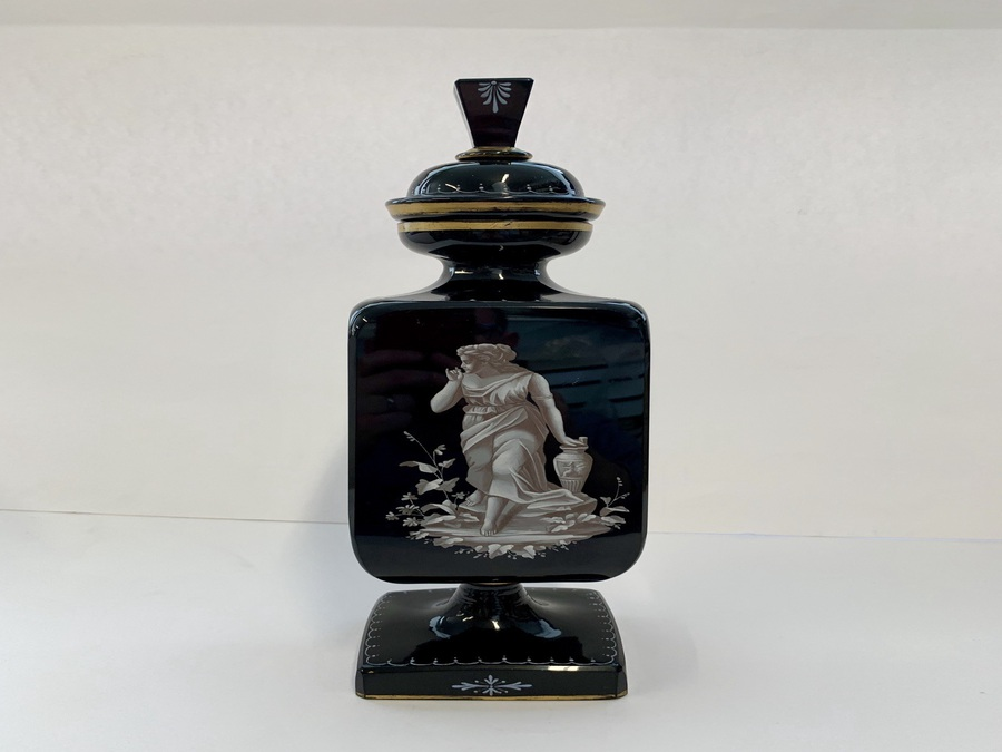 Antique Antique Opaque Black Glass Vase And Cover, Painted In White Enamel, Circa 1880