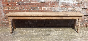 Antique 19c French bleached oak hall bench / stool