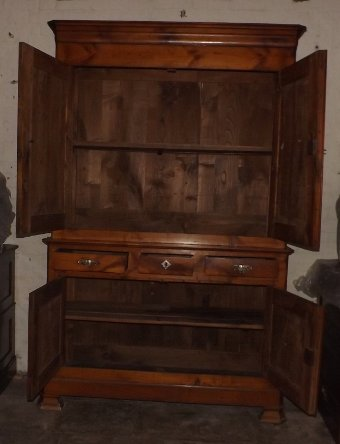 Antique 19c French cherry wood dresser / buffet deux corps