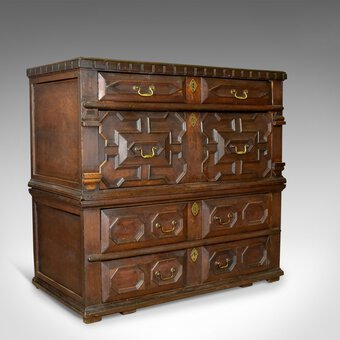 Antique Large Antique Chest Of Drawers, 17th Century, English, Oak