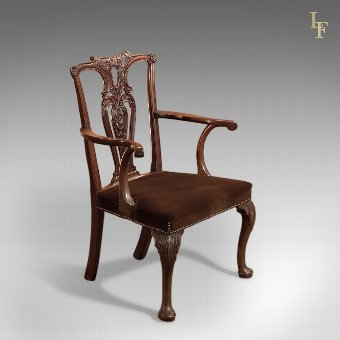 Antique Antique Elbow Chair, 19th Century in Chippendale Taste