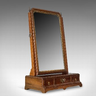 Antique Antique Dressing Table Mirror, English Georgian, Mahogany, Toilet, Vanity c.1800