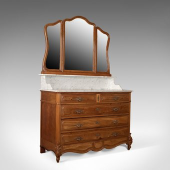 Antique Antique Vanity Chest of Drawers, French, Marble Top, Mirror Back, Mahogany c1880