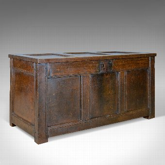 Antique Antique Coffer, Oak, Joined Chest, Three Panel Trunk, Early 18th Century c.1700