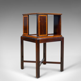 Antique Antique Four Sided Bookcase Stand, Edwardian, Walnut, Book Table, Circa 1910