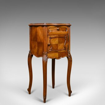 Antique Antique French Bedside Cabinet, Edwardian, Walnut, Marble, Pot Cupboard, c.1910