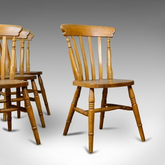 Antique Set of Four, Antique, Dining Chairs, Lath Back, Windsor, Station Early C20th