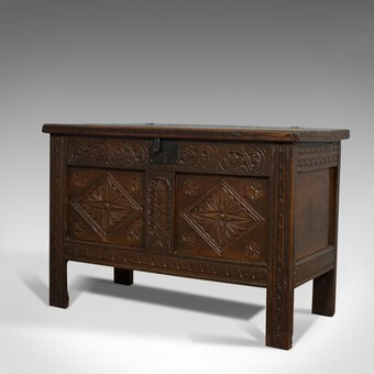 Antique Compact Antique Coffer, English, Oak, Chest, Trunk, Early Georgian, Circa 1720