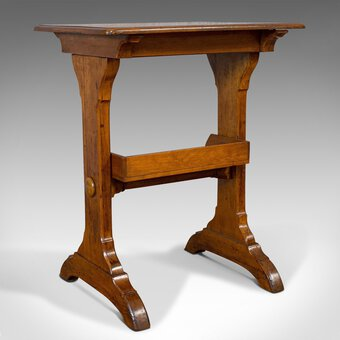 Antique Antique Craft Table, English, Golden Oak, Side, Writing, Victorian, Circa 1880