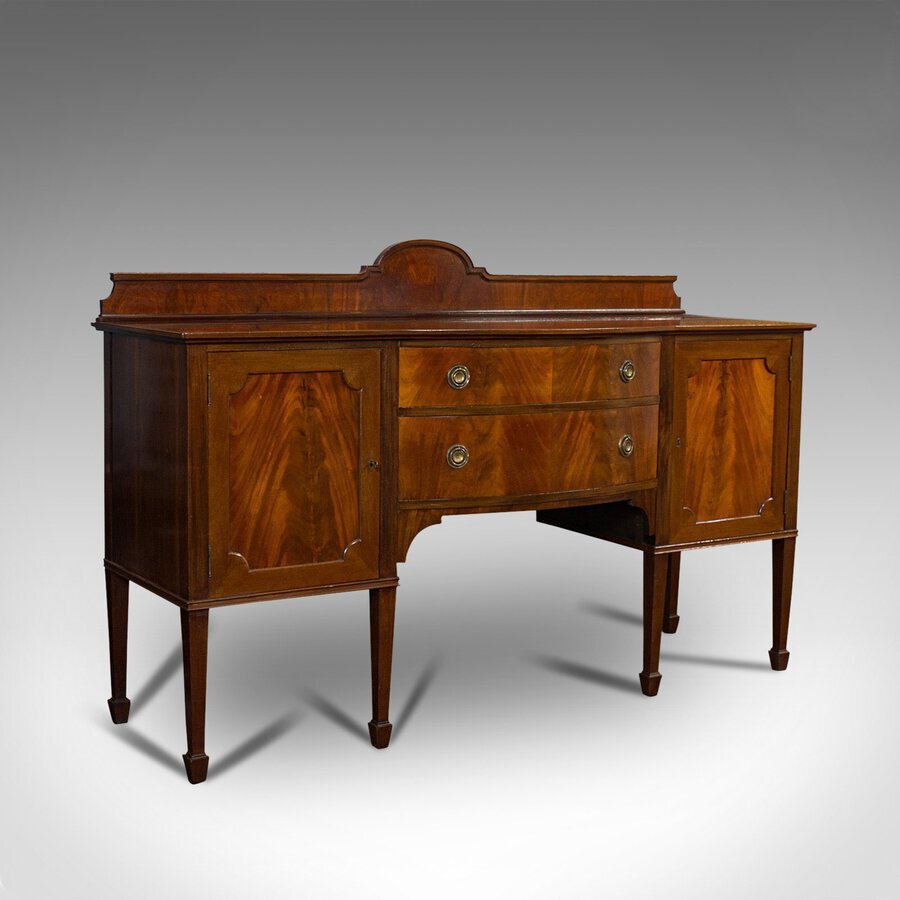 Antique Bow Front Sideboard, English, Mahogany, Dresser, Cabinet, Victorian