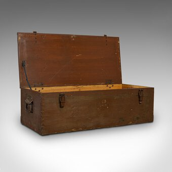 Antique Large Vintage Carriage Chest, Welsh, Pine, Linen Trunk, 20th Century, C.1950