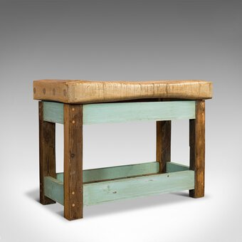 Antique Butcher's Block, English, Beech, Teak, Work Table, Kitchen Island, 1900
