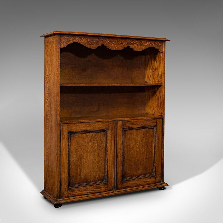 Antique Headmaster's Office Bookcase, English, Oak, Cabinet, Edwardian, C.1910