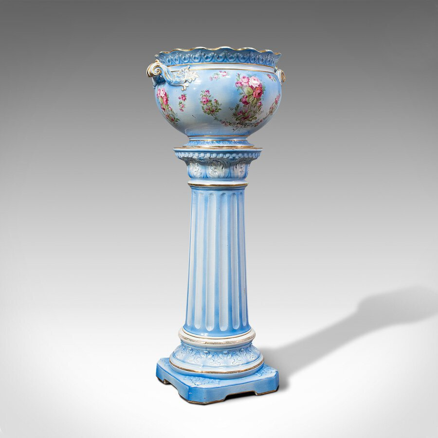 Antique Jardiniere On Stand, English, Ceramic, Decorative Planter, Victorian